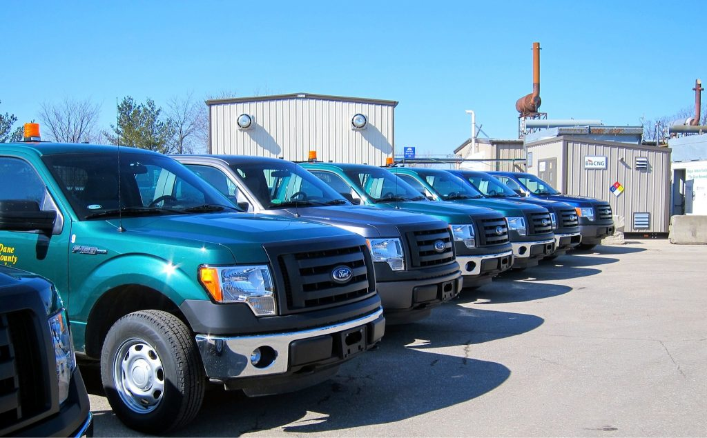 Dane county fleet trucks that run off of the compressed natural gas